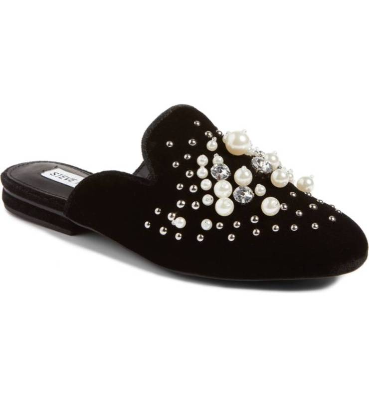 pearl embellished shoes